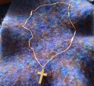 rose gold chain and cross