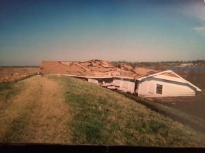 Blanchard home, post-Katrina, located in pieces on back levee, Port Sulphur, Louisiana