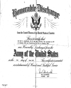 Honorable Discharge of Sgt. Roy P. Blanchard, June 2, 1953