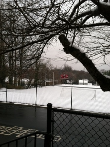 Our turf field in the dead of winter, a carpet of white velvet...no outdoor recess this day!