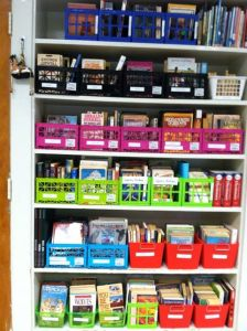 My classroom library, sorted by genre to entice the reluctant reader