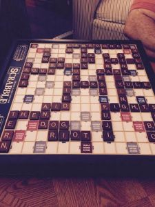 game one on new Scrabble board