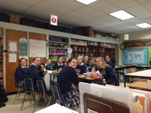 My 8th grade girls having lunch in my classroom, earlier in the year