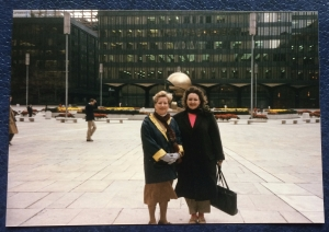 Anne and me in front of The Sphere in WTC Plaza